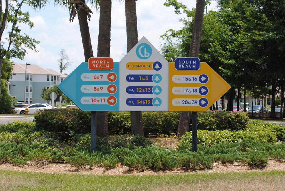 neutral7 graphic design large format printing cabana beach apartments   directional wayfinding monument sign signage