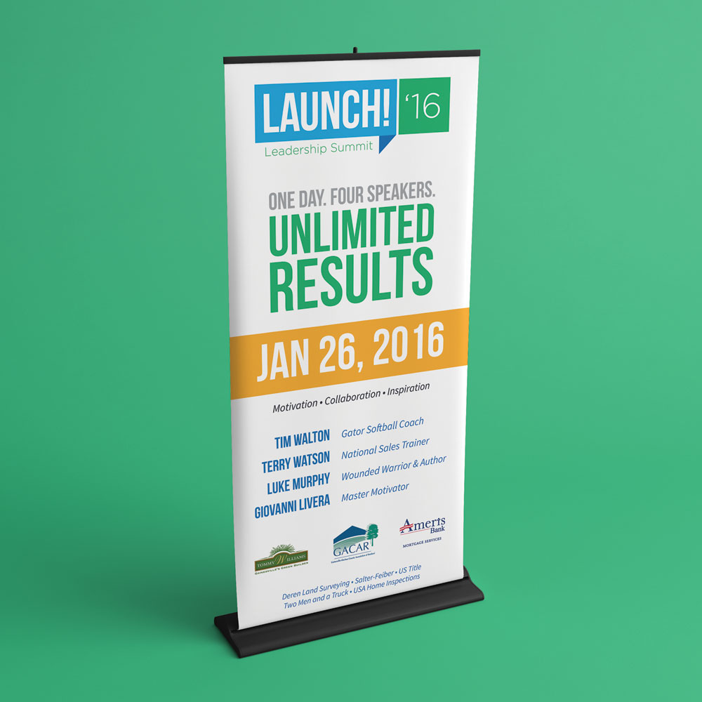 neutral7 design launch gainesville   large format banner stand