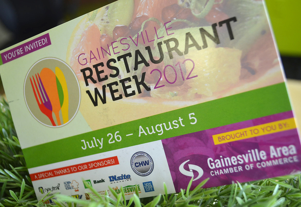 neutral7 graphic design gainesville restaurant week event branding awards printing postcard