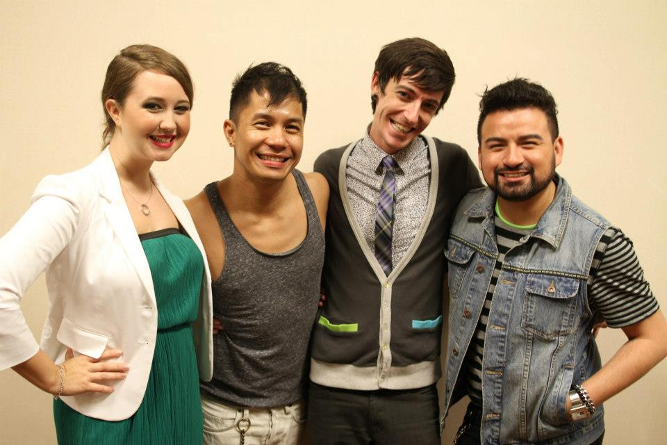 Tiffany and Albey with Project Runway designers Jay Nicolas Sario and Andy J. Thouvenot