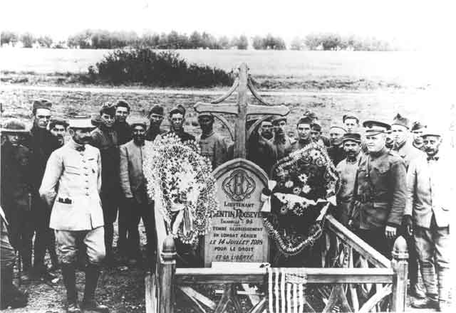 Allies visiting Quentin Roosevelt's Grave in France during WWI