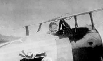 Quentin Roosevelt in a Nieuport fighter plane in France