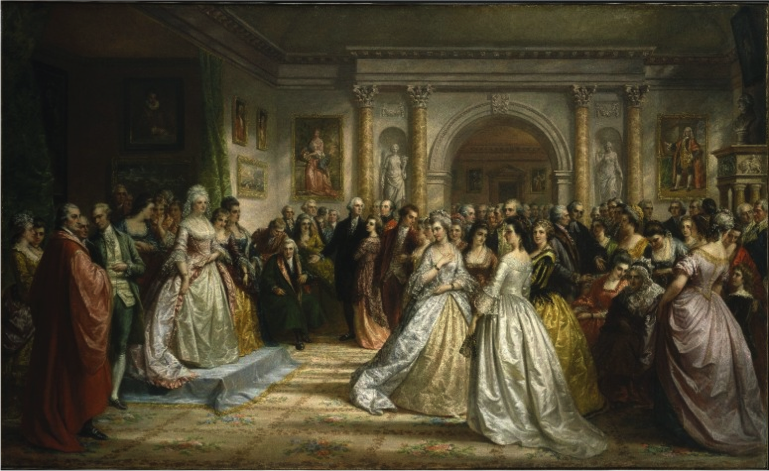 Daniel Huntington, Lady Washington's Reception (Republican Court), 1861. A regal Martha Washington stands on a platform to greet her fashionable guests. The artist idealized the social rituals of a seemingly harmonious ruling elite on the eve of the Civil War, but in the 1790s many Americans deemed them anti-republican. (Brooklyn Museum of Art). From Mount Vernon Estate and Gardens website