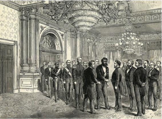 King Kalākaua of Hawaii meets President Ulysses S. Grant in the Blue Room of the White House in the first state visit for a ruling monarch to the US in December 1874 .  Frank Leslie's Illustrated Newspaper . (Photo from The Business Insider – April 24, 2018)