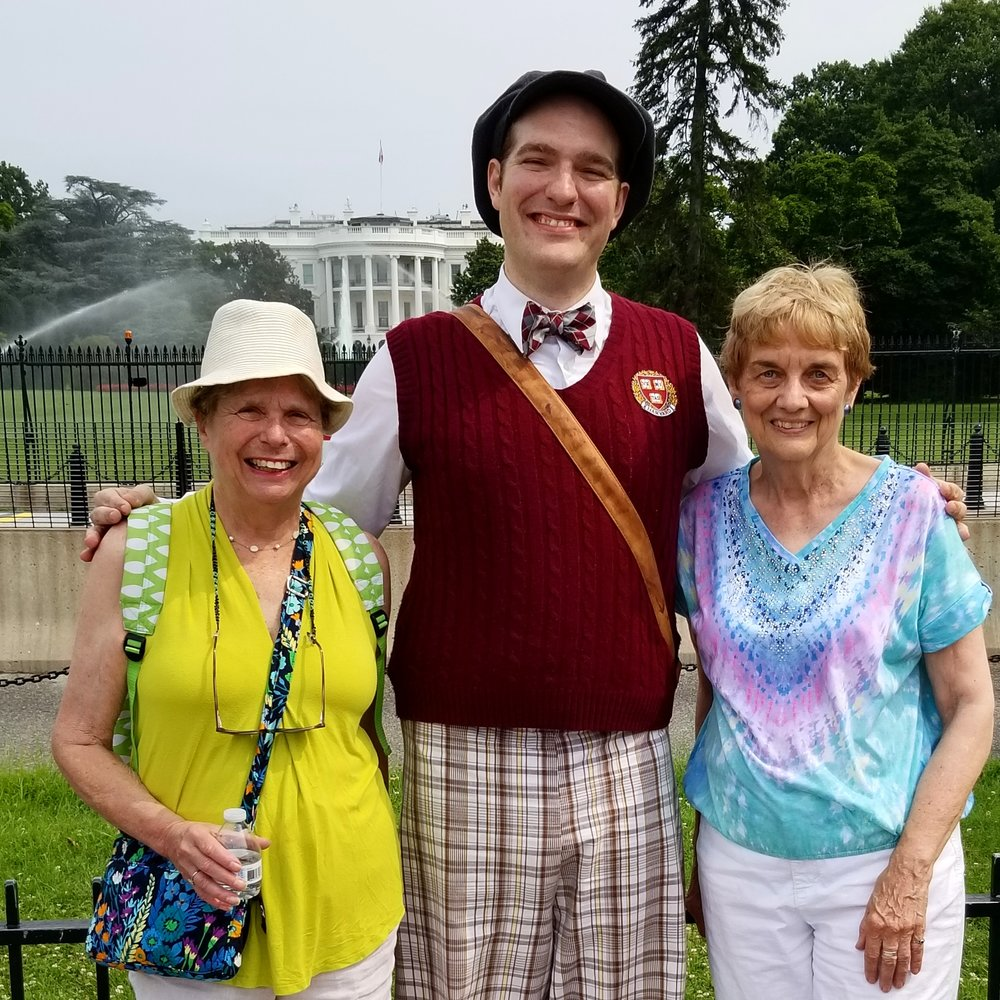 Madeline Nelson (left) and Toby Selda (right), education docents at Sagamore Hill National Historic Site. with our own Pickle Pea Walk's Quinten Roosevelt (played by Johnny Weissgerber) on the  White House as a Home Walk  around the President's Neighbor in Washington, DC.