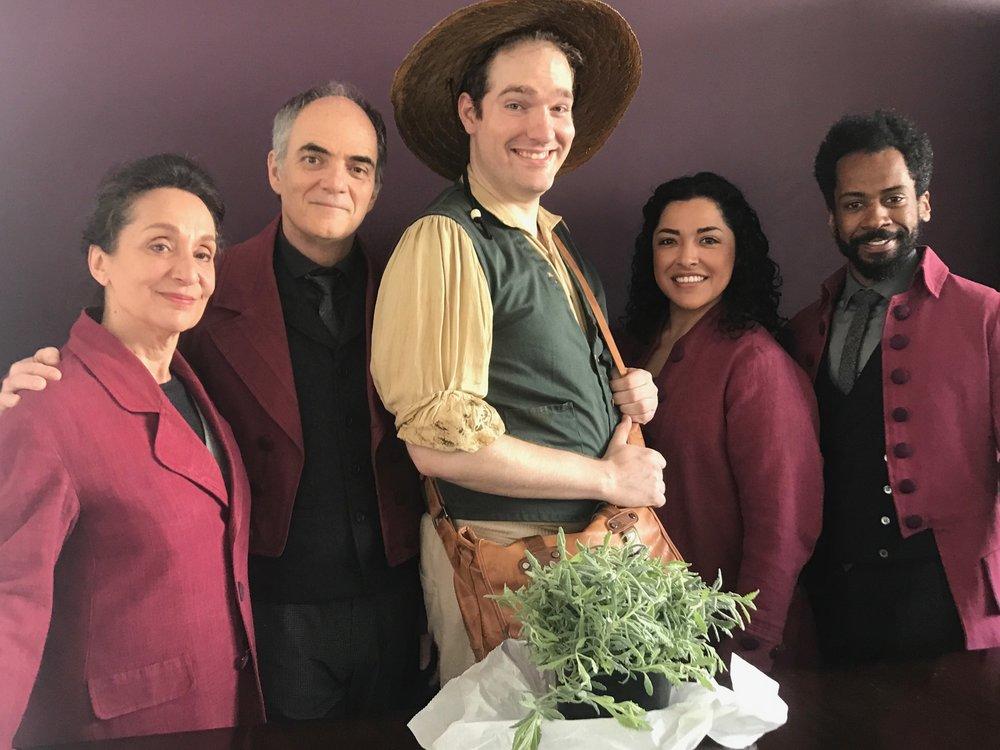 Left to Right: Phyllis Kay, Eric Hissom, Johnny Weissgerber (John Ousley), Jacqueline Correa and Joshua David Robinson.