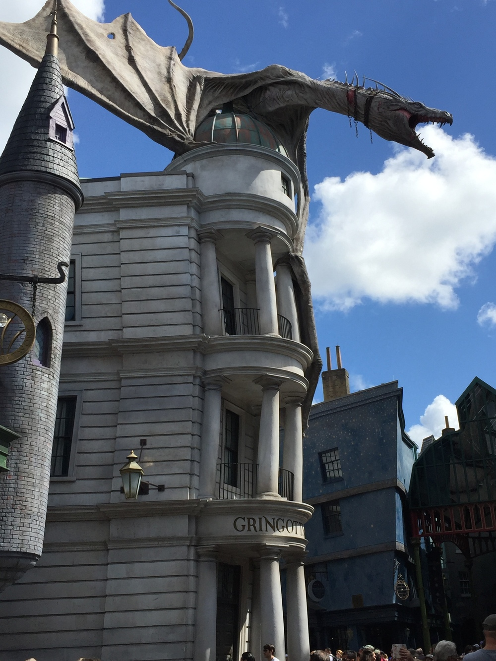The dragon atop Gringott's in Diagon Alley.