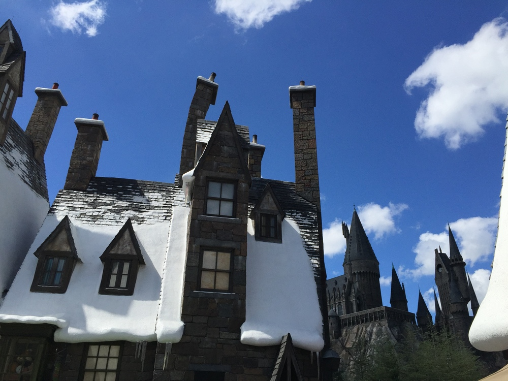 Hogsmeade, with a view of the castle.