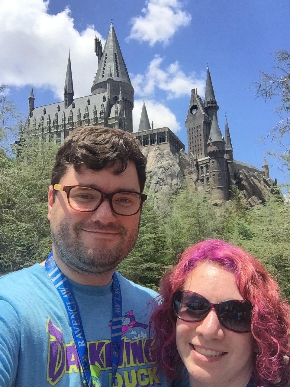 Obligatory selfie in front of Hogwarts.