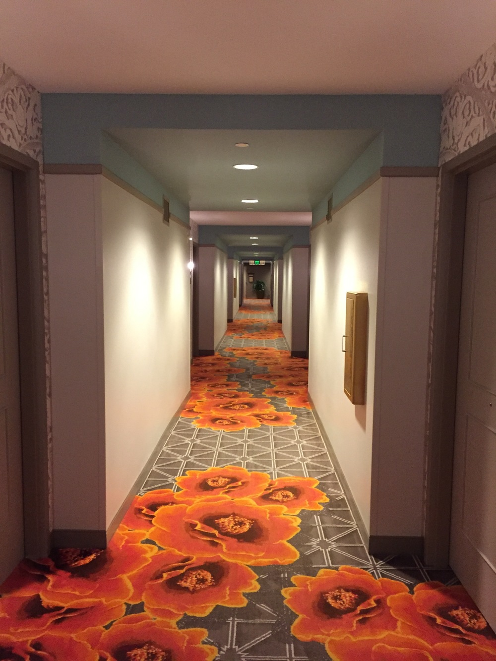At the end of each day, this hallway to our room seemed endless, and our feet moaned in our shoes.