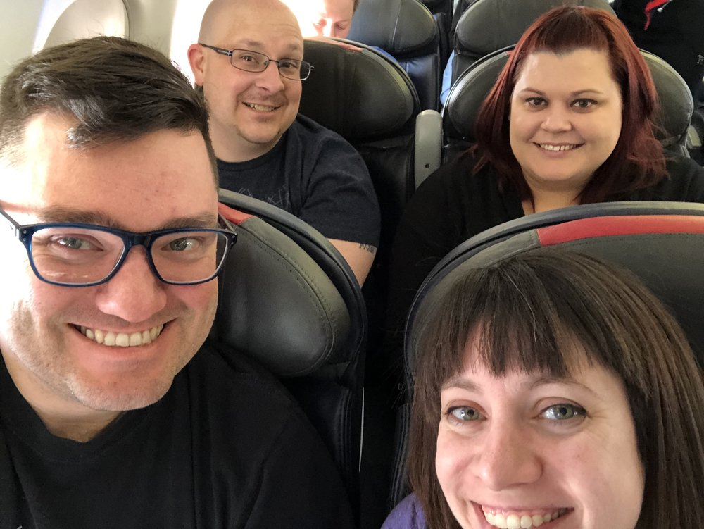 My travel companions and I on the flight from SLC to LAX