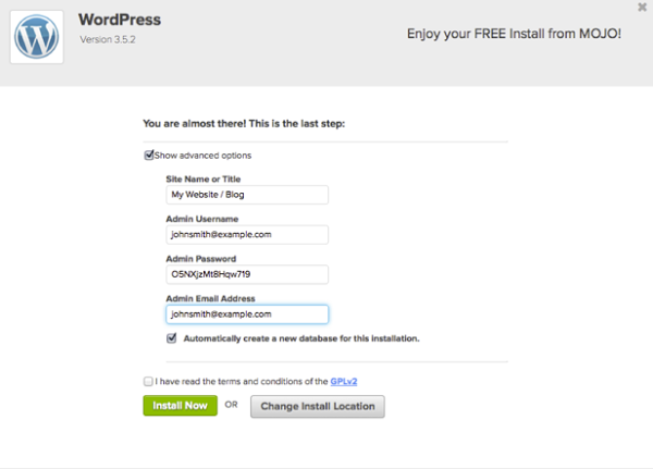 Last Wordpress Step