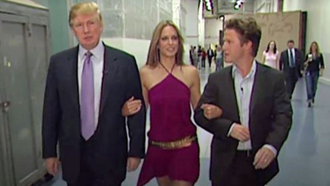 A screenshot from Trump's latest scandal video. Above, Trump (left) with Arianne Zucker (center) and Billy Bush (right).