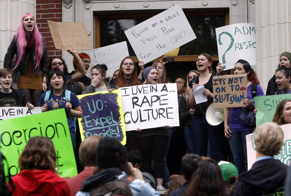 "Students demonstrate against ""rape culture"" on a university campus"