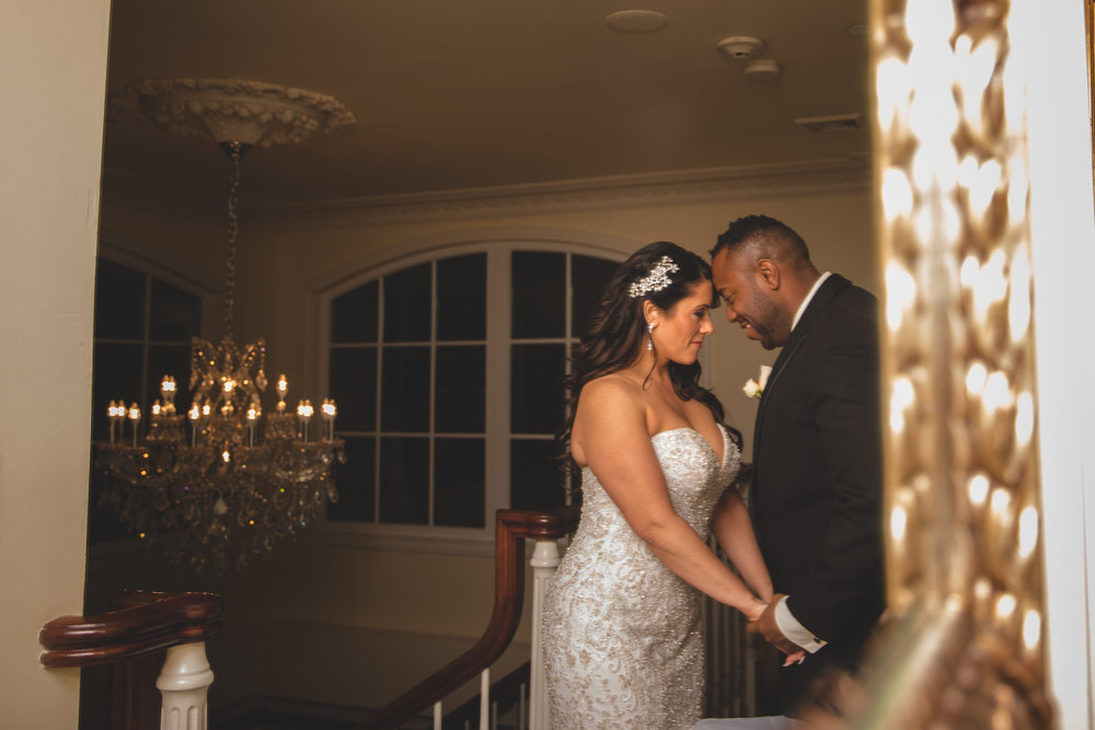 Bride and Groom | Reflection | Chandelier | Long Island