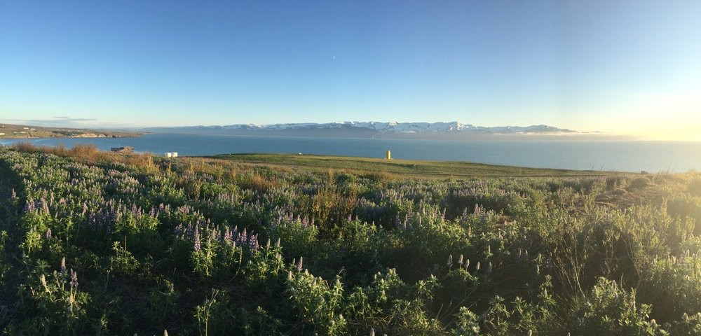 The midnight sun in Husavik, Iceland where the skies are always sunny!
