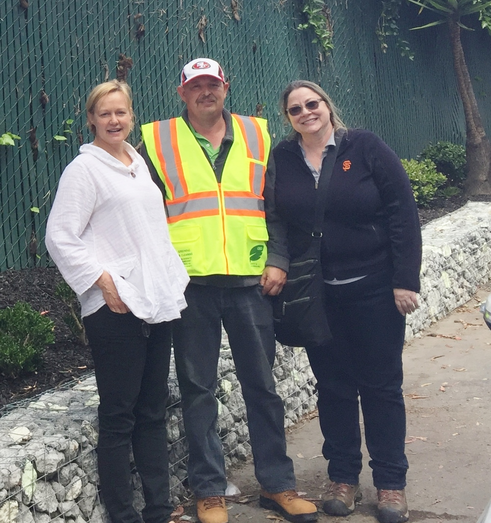 Angel Alley Park Steward Sari Stenfors with Frank + Grossman landscapers Frederico and Michelle.