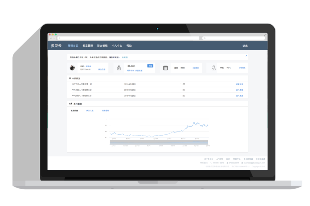 On the Dashboard page, users can briefly view their account information, notifications and monthly statistics.