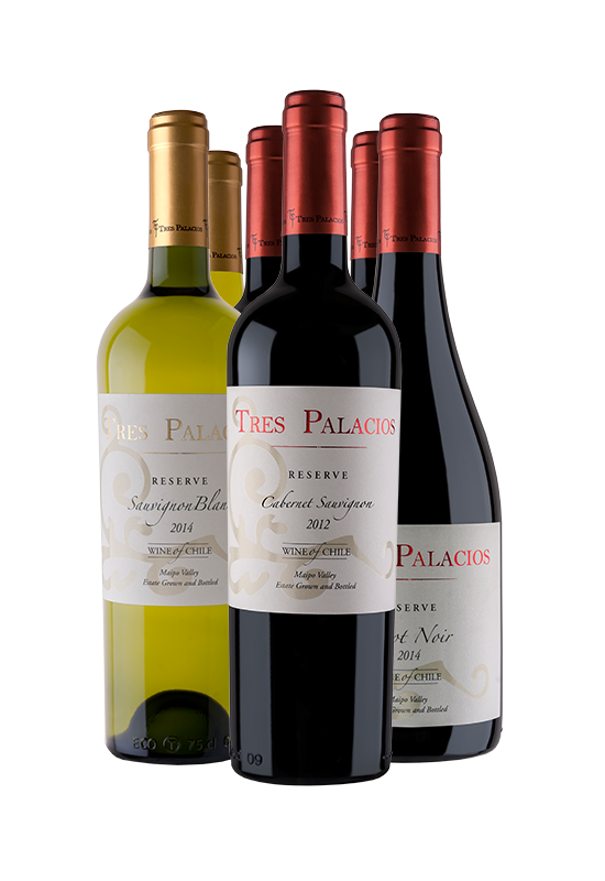 "++++  TRES PALACIOS RESERVA   FICHAS TÉCNICAS y NOTAS DE CATA ↓    CABERNET SAUVIGNON  |   CARMENERE   |   MERLOT   |   PINOT NOIR   |   CHARDONNAY   |   SAUVIGNON BLANC   |     Nuestros viñedos utilizados para nuestra línea ""Reserva"" difícilmente superan los 8.000 kilos/ha, concentración que se puede ver y sentir en el vino. Se realiza un manejo delicado de follaje para exponer al sol los racimos y así estos lleguen en una madurez óptima al momento de la cosecha.   ..  TRES PALACIOS RESERVE  TECHNICAL DETAILS & TASTING NOTES ↓   CABERNET SAUVIGNON  