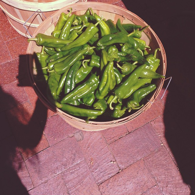 Hatch green chiles from the Santa Fe Farmer's Market