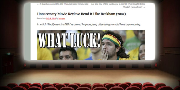 I finally watched  Bend It Like Beckham  during the 2014 World Cup. Synergy! You probably watched it years earlier like a normal person.