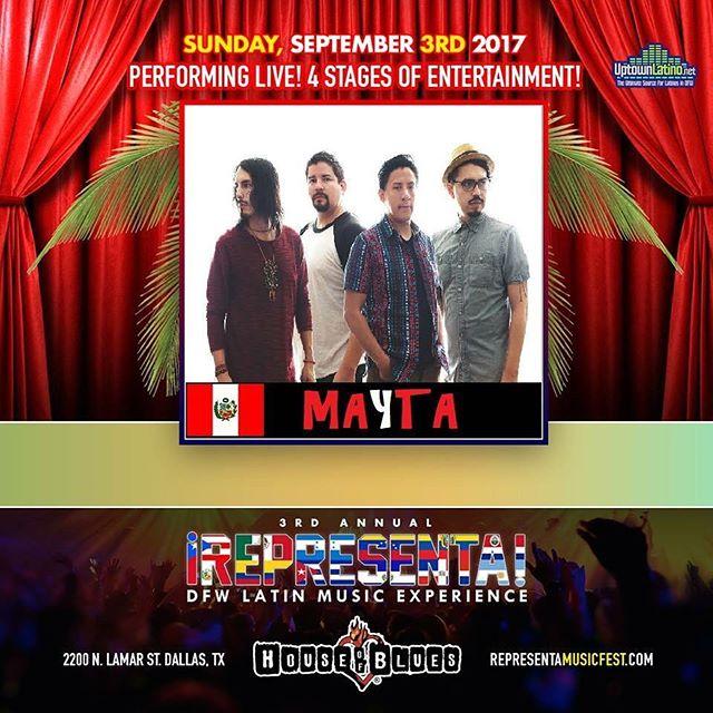 Tomorrow we'll be representing #Peru & #Mexico at ¡REPRESENTA! Music Fest!  Join us at @hobdallas , we'll go on at 6pm! 🤘🏽 🇵🇪🇲🇽 #LatinRock #maytaband #PeruRock #MexicoRock