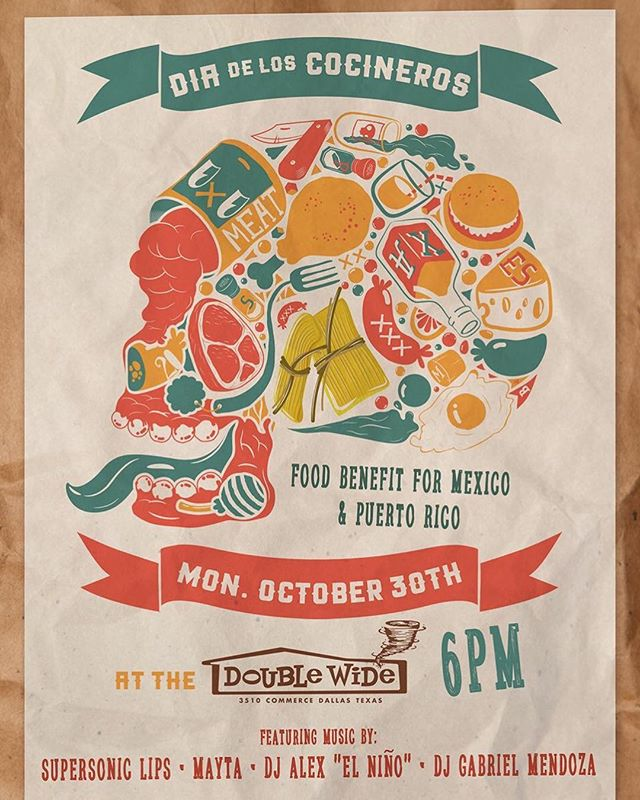 **SHOW ANNOUNCEMENT** We'll be joining forces with amazing local chefs for the #DiaDeLosCocineros at @doublewide_dallas on Monday October 30th.  This fundraiser will raise funds for people affected by the earthquake in Mexico City & the hurricane in Puerto Rico. More info on bio! #maytaband #dallasmusic #fundraiser #mexico #puertorico