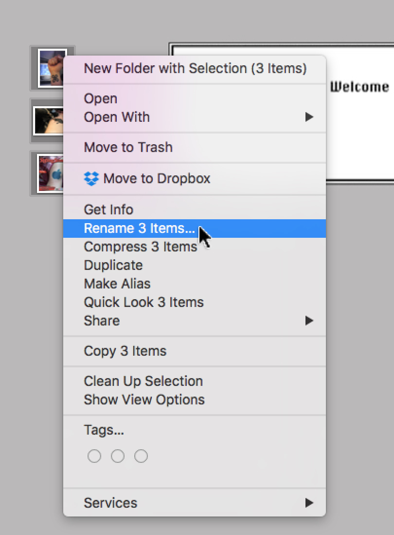 Right- or Control-click selected files and choose Rename X Items.