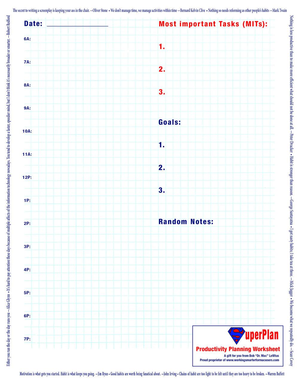Goodie #1SuperPlan Productivity PlanningWorksheet -