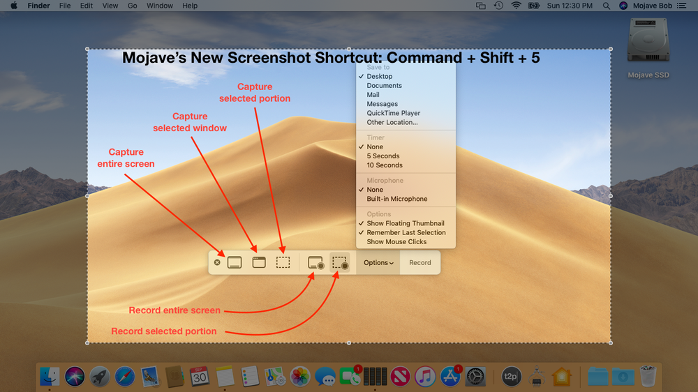 What you'll see when you press Shift + Command + 5 in Mojave (click image to enlarge).
