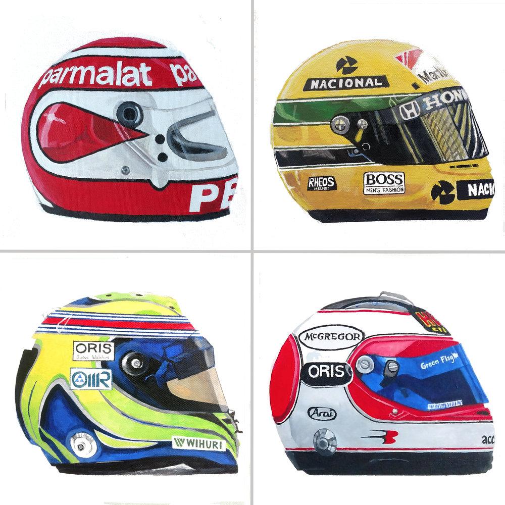 "Brazilian Formula 1 Helmets, 10x10"", Acrylic on Canvas"