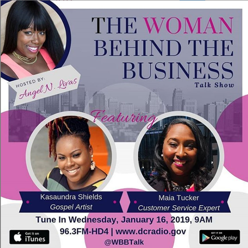 "january 14, 2019 - Kasaundra interviews with Gracie Award-Winning Executive Producer, a Multi-Media Personality, Angel Livas on ""The Women Behind The Business"" Talk Show."