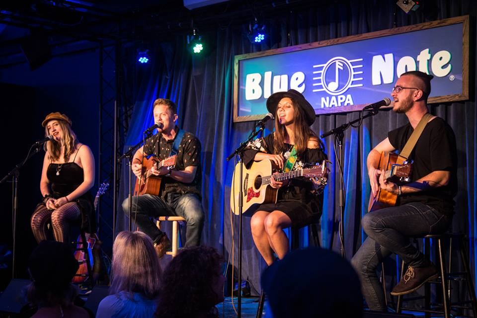 From left to right: Piper Hays, Andrew Castro, Clementine Darling, and myself live at Blue Note - Photo by Kay Oneal.
