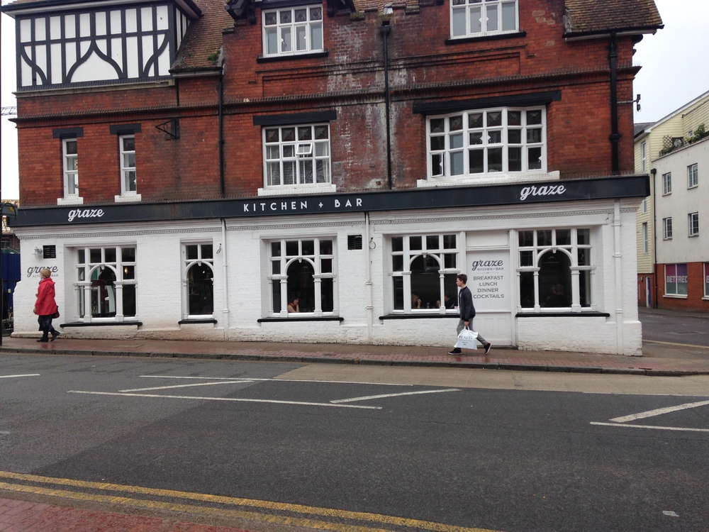 Graze - looks a bit shabby on the outside but lovely on the inside; big windows at street level - not the place for a secret rendez-vous