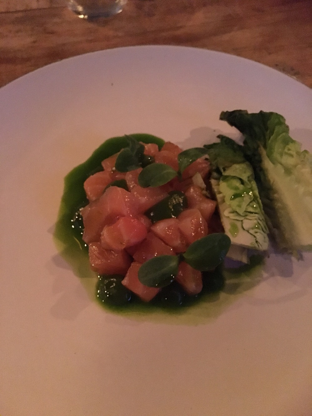 Salmon tartare with cucumber & barbecued lettuce