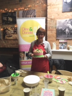 Jane Beedle with her cake