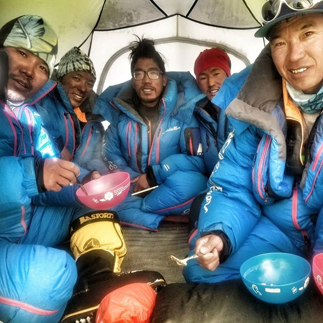 Exactly 5 days since we became the first team of the season to stand on top of Cho Oyu, we are leaving base camp for our summit push on #Everest! It's been a whirlwind of logistics and planning but we are ready to make our final push. Are we 100% recovered? Probably not 😬. But no matter how hard we have been pushing, the 5 in this picture have been going harder. Our @alpenglowexpeditions Cho-Everest Sherpa team fixed ropes, summited Cho with us, cleared the whole mountain of trash and equipment, packed up all our camps, moved everything to Everest by truck, unloaded, packed it all onto yaks to Advanced Base Camp, and are now getting ready to do an epic carry to put everything we need in place in 1 day. Can Everest be climbed in 1 week? With the help of these guys, maybe. I am truly grateful for their effort and stoke. Here we go! #RapidAscent #Everest2018 #adventuredoneright // @eddiebauer