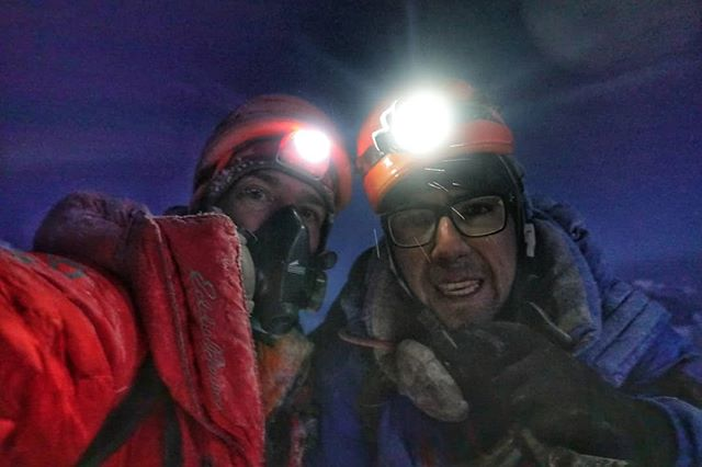 At 28,000 feet, after at least 30% of our oxygen system had failed, I pulled out my phone and snapped this shot while waiting for the last of our team to rappel the First Step (a steep technical rock cliff high on the NE Ridge of #Everest). Maybe it's only because I know what I was feeling, but I think our eyes show our fear. // As our small Cho-Everest team commits to another attempt, we are once again trying to game out all possible outcomes, to imagine all the things that could go wrong, even as we build the necessary stoke and confidence for success. #Everest2018 #everestnofilter