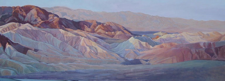 Sunrise at Zabriske Point 2,  Death Valley, oil on Board, 37 x 17 inches