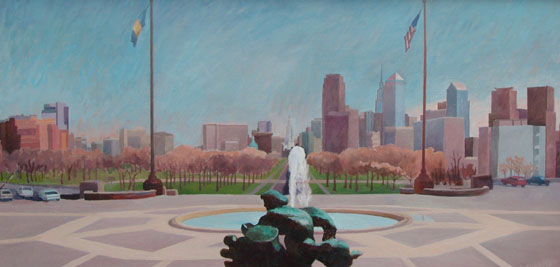 Prometheus On The Parkway , oil on Board, 29 x 10 inches