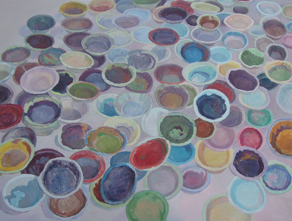 Greg Gasky's Paint Bowls , oil on Board, 28 x 20 inches