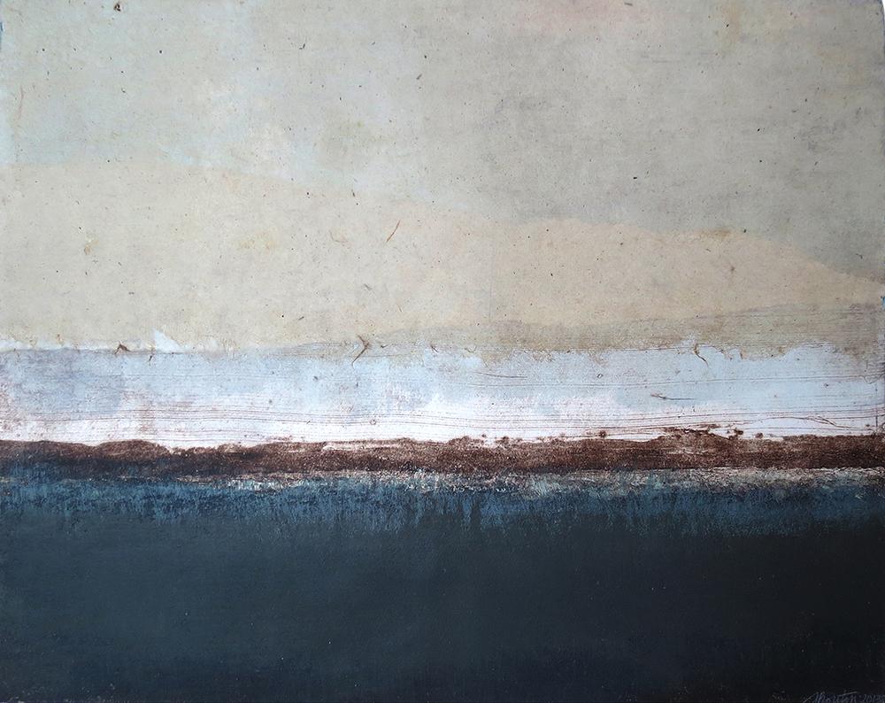 Après la tempête/ After the storm , Carborundum etching, acrylic and collage, 16 x 20 inches