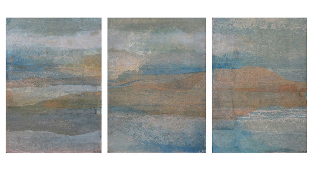 Blue Days XIV: Triptych , Carborundum etching and Chine collé mounted on canvas, 20 x 25 inches
