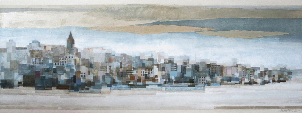 Galata IV , Acrylic and collage on canvas, 12 x 32 inches