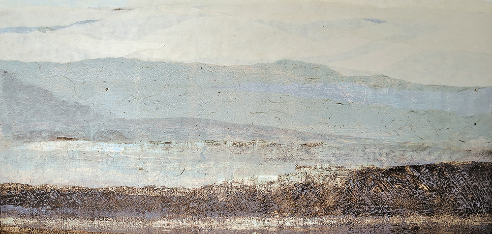Horizon , Carborundum etching and collage, 12 x 16 inches