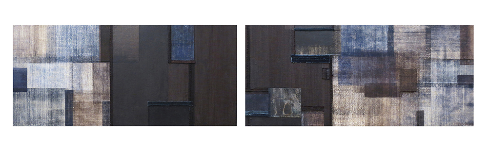 Indigo XXXI: Diptych , Wood print and monotype on paper, fabrics and metal mounted on carved wood plank,  14 x 30 inches