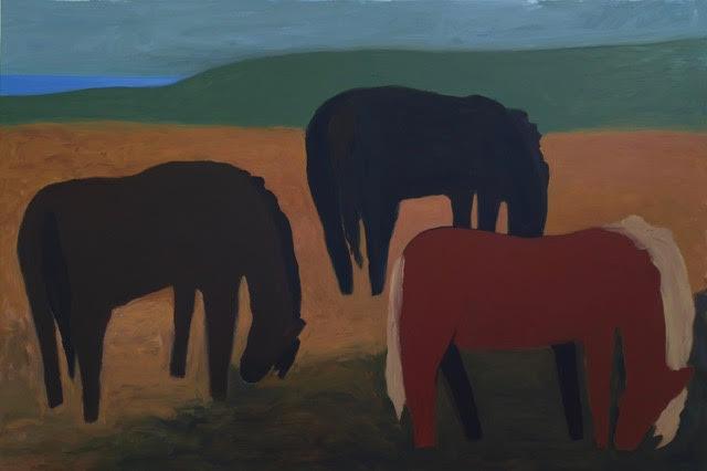 "Icelandic Horses Grazing, Acrylic on Canvas, 40"" x 60"""