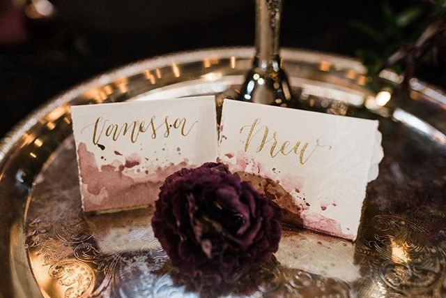 Watercolor or wine-stained? #placecards #styledshoot
