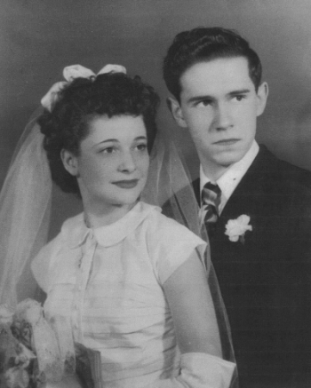 Bruce & Shirley on their Wedding Day.  Son, Kevin, often jokes about the scared look on his fathers face.