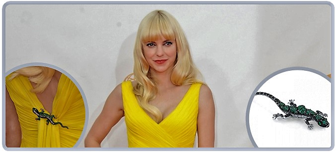 "Anna Faris wearing Omi Prive' designed by Niveet Nagpal ""Alexis"" with Alexandrites"